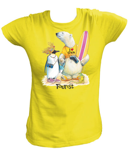T-shirt Femmes 18400-touriste-polar bear /& penguin Holiday vacances ours pingouin