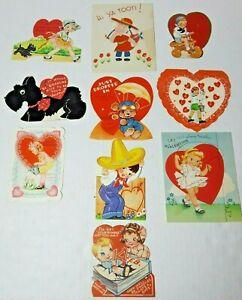 Vtg 1930-40s Valentine Cards Die Cut Lot Of 10 #8 Girls Boys Puppy Bear