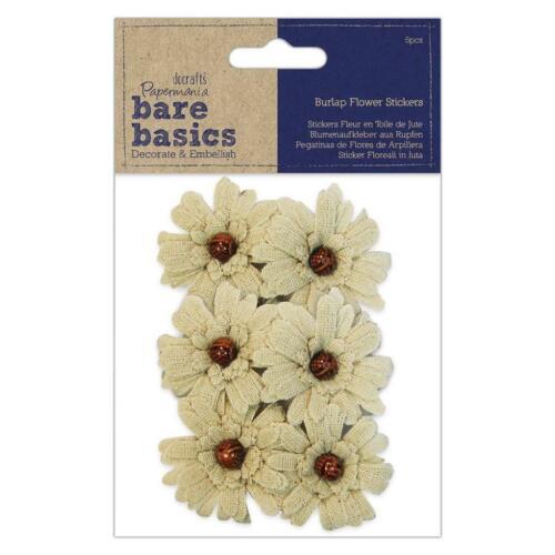 6 X Pegatinas papermania Bare Basics Arpillera flor con perla scrapbooking manualidades
