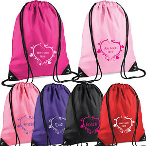 Image Is Loading S Heart Design Pe Drawstring Bag For Swimming