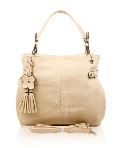Women Floral Tassel Chram Large Tote Shopper Shoulder Handbag Work Travel Bag