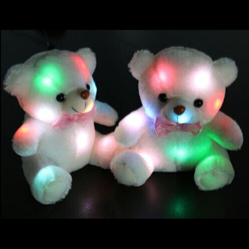 c02844b0b2b Lovely LED Light White Teddy Bear Stuffed Kids Birthday Gift Baby Toy 20cm  PF for sale online
