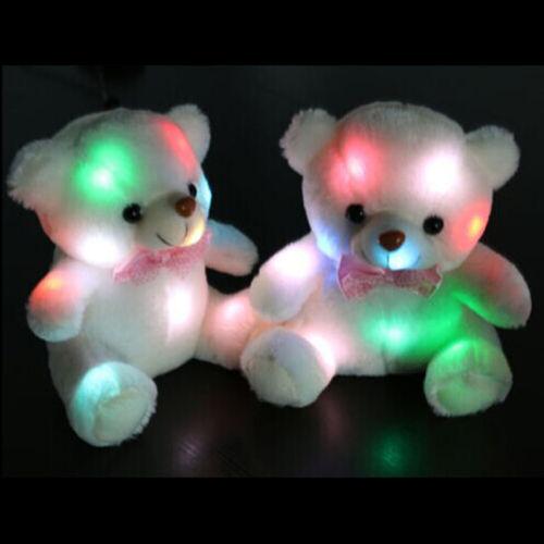 Lovely Kids Birthday Gift Light Up LED Bear Stuffed Animals Plush Toy US