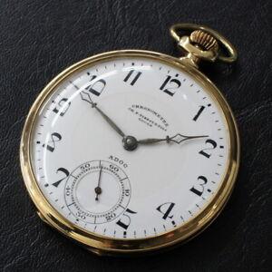 Antique-CH-F-TISSOT-amp-FILS-HW-K18-Chronometer-pocket-watch-Ship-charge-INCLUDED