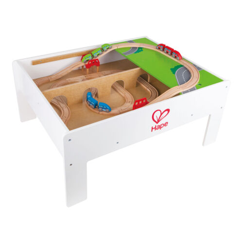 Hape Railway Play and Stow Wooden Train Set Activity /& Toy Storage Play Table