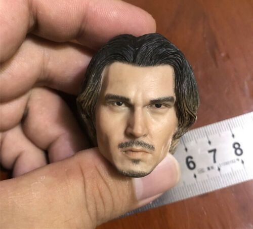 """Johnny Depp 1//6th Head Sculpt Carved Model Toy for 12/"""" Male Action Figure Body"""