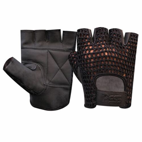 NET LEATHER FINGERLESS GLOVES GYM WEIGHT TRAINING BUS DRIVING WHEELCHAIR 405