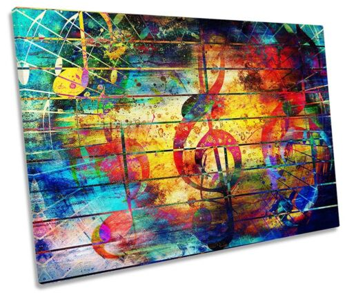 Grunge Musique Note Musical SINGLE TOILE murale ART PRINT ART