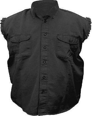 Mens Sleeveless Denim 100% Cotton Twill Shirt Biker Motorcycle BLACK LARGE