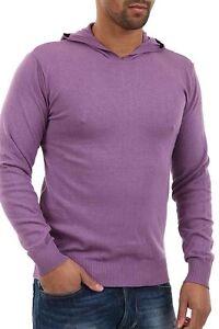 Pullover-Uomo-Maglia-con-Cappuccio-ABSOLUT-JOY-B225-Aderente-Viola-Tg-L-XL