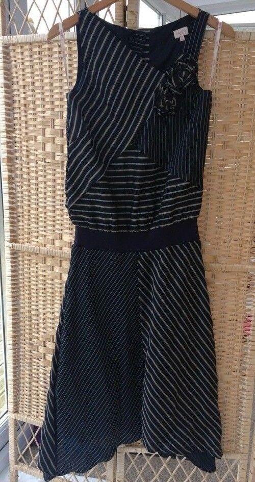 Whistles London Multi Stripe Navy bluee Dress Size 8 Asymmetric Hem Appliqué Flip