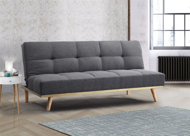 Birlea Snug Sofa Bed 3 Seater Settee Grey Velvet Fabric Scandinavian Retro