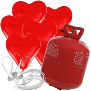 set helium gas flasche 50 herz rot luftballon herzballons. Black Bedroom Furniture Sets. Home Design Ideas