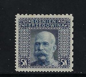1906 Bosnia & Herzegovina Scott 45D, 5k dull blue, MLH; fresh and well centered