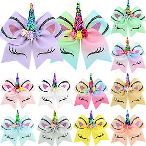 Kids-Girls-JOJO-Unicorn-Hair-Bow-Pin-Alligator-Clip-Hairpins-Bowknot