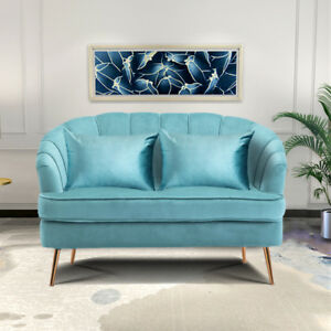Prime Details About Luxury Velvet Blue Shell Back Double Sofa Couch With Metal Legs For Living Room Download Free Architecture Designs Photstoregrimeyleaguecom