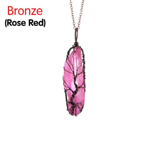 Long Chain Choker Natural Stone Gemstone Necklace 7 Chakra Wire Wrap Pendant