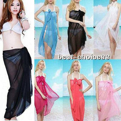 Sexy 1pcs Women Chiffon Wrap Pareo Dress Sarong Beach Swimwear Cover Up Scarf
