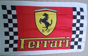 FERRARI Cars 3x5 Flag Banner Red/Checker