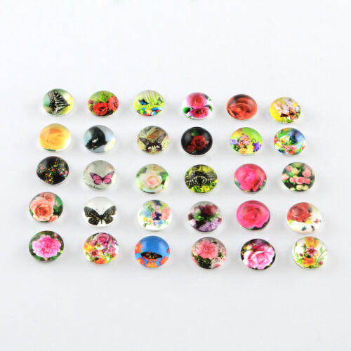 10mm Glass Cabochons Butterflies /& Flowers BEAD BONANZA