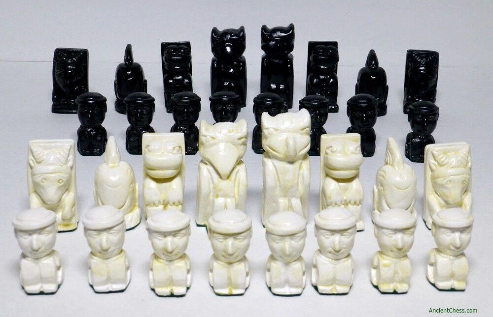 NATIVE AMERICAN DESIGN CHESS MEN - CANADIAN HAIDA TOTEM POLE POLE POLE STYLE SET (854) 1ff7f9