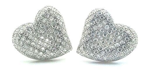 Femmes Femmes Femelle Véritable Solide Argent Sterling 925 Coeur Cubique Boucles D/'oreilles Clou