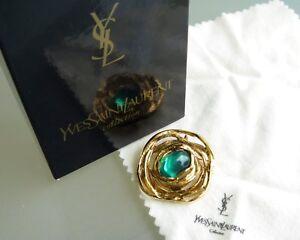 10ee0c69fcf4e 100% Auth Yves Saint Laurent YSL Gold-Tone Green Motif Pin Brooch W ...