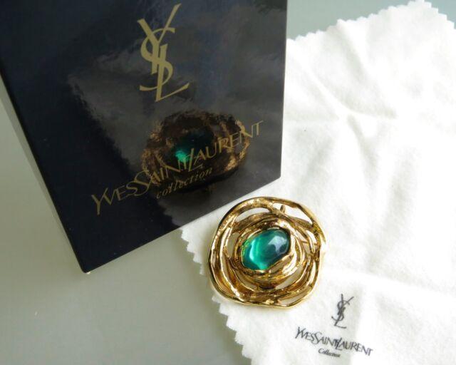 c91775108a8 100% Auth Yves Saint Laurent YSL Gold-Tone Green Motif Pin Brooch W ...