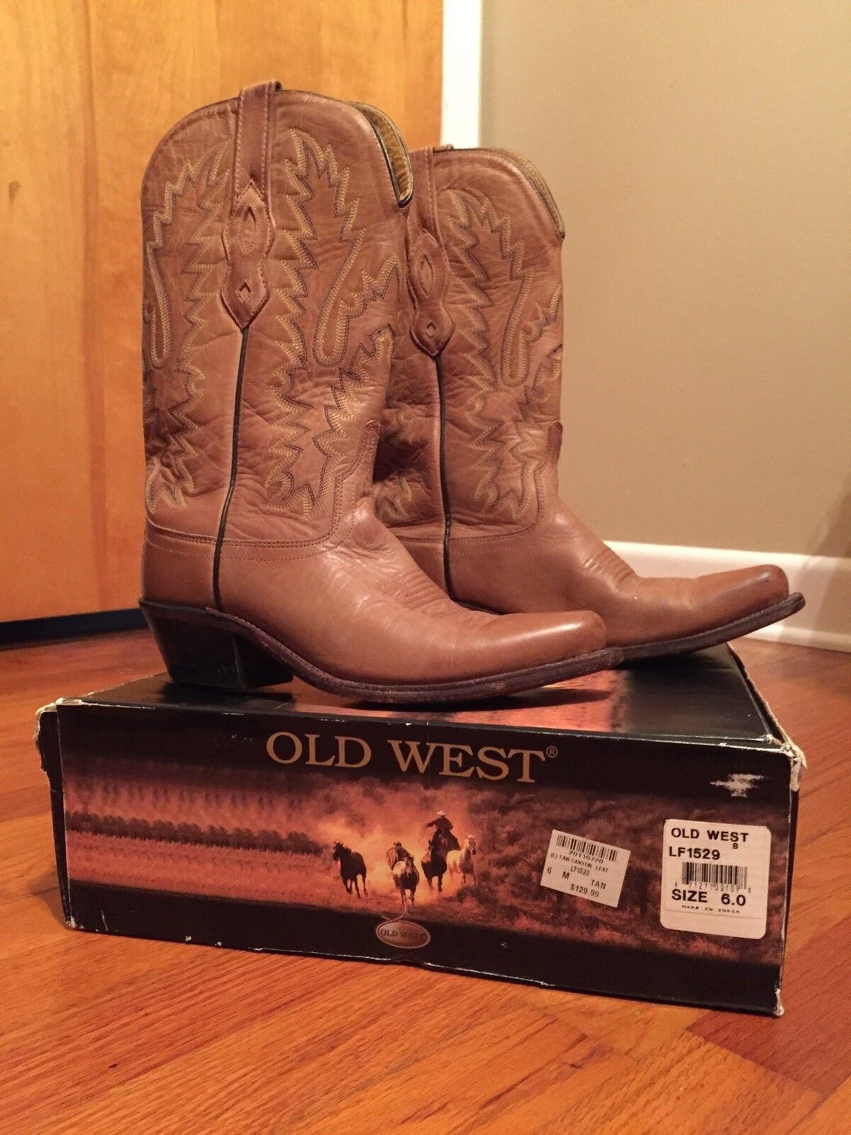 Old West Womens Cowgirl Boots, Size 6, Tan