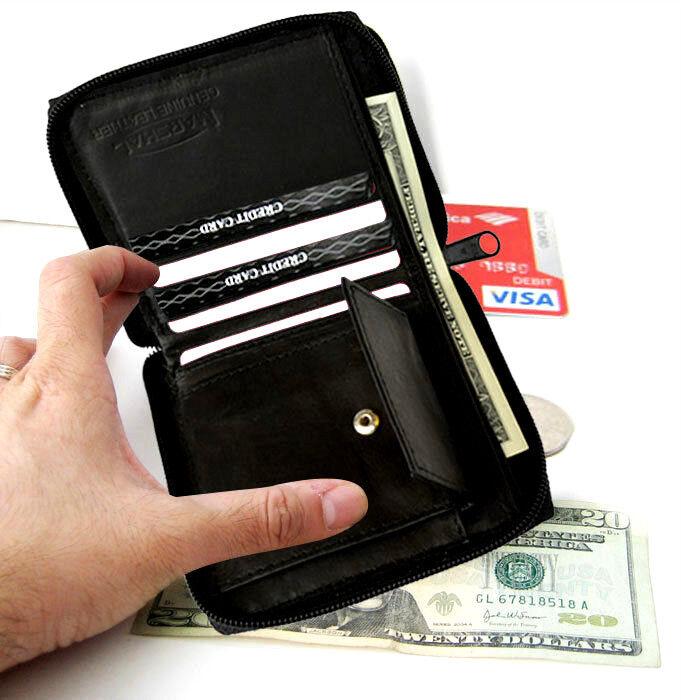 Black Genuine Leather Bifold Men's Wallet Zip Around Coin Pocket