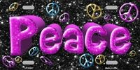 Peace Metal Novelty License Plate