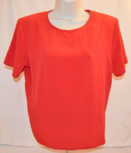 VTG 80s Flagg Petites Red Blouse Dress Shirt Short Sleeve Womans 12P Made in USA
