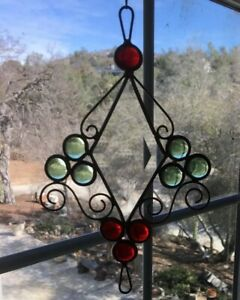 Beautiful-Handcrafted-Beveled-Glass-amp-Cabochon-Sun-Catcher-Scrolled-Copper-8x5