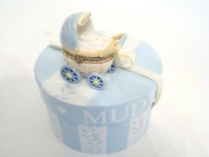 Mud-Pie-Porcelain-Hinged-Box-Blue-Welcome-Boy-Baby-Carriage-Treasure-Box