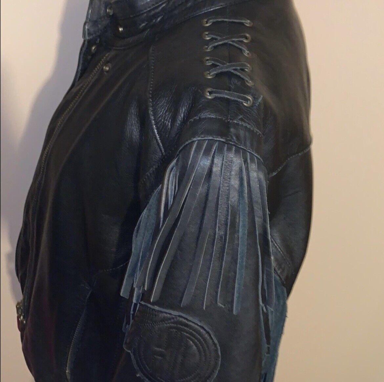 HARLEY DAVIDSON Black Fringed leather moto Jacket - image 9