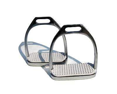 "1 PAIR QUALITY STIRRUP IRONS WITH WHITE TREADS (4.5"") BY TINTUKLIMITED2009"