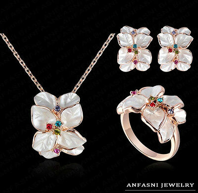 Elegant Jewelry Set 18K Rose Gold Crystal Enamel Earring/Necklace/Ring Flower