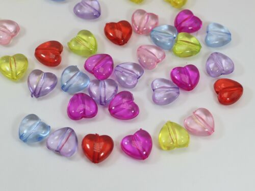 Craft DIY Mixed Colour Transparent Acrylic Smooth Heart Beads Charms
