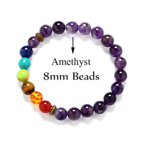 Amatista Curación Chakra de Corona Pulseras Perlas de Lava Mala Meditación