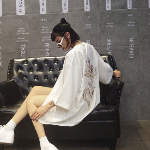 Japanese Kimono Coat Matsuri Yukata Top Chinese Dragon Loose Shirt White Black