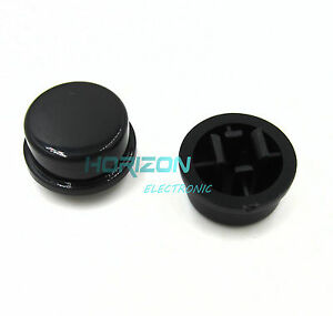 1000pcs Black Round Tactile Button Caps For 12×12×7.3mm Tact Switches new