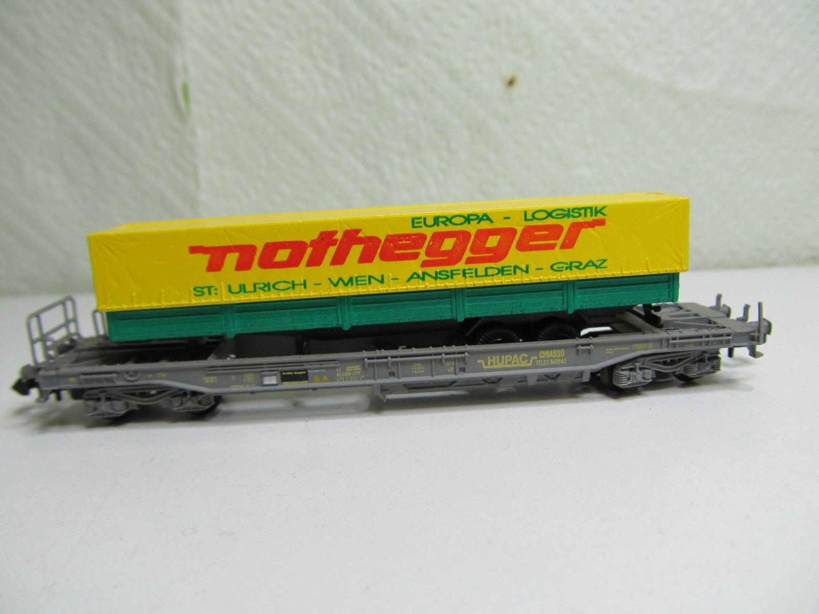 010N - Roco N - Taschenwagen grau SBB SBB SBB mit Auflieger Nothegger - selten  top c90525