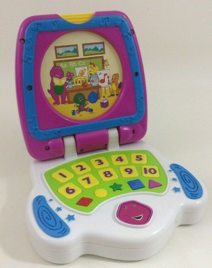 Barney The Dinosaur Learn and Go Laptop Learning Toy 2007 Jakks with Batteries