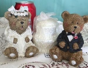 Teddy-Bear-Wedding-Cake-Topper-Figurines-Resin-Bride-Groom-with-Cake-Candle