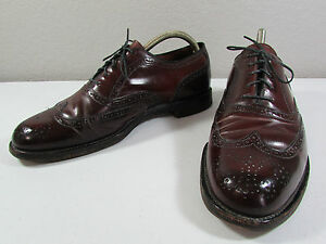 ea2ab78607d7 Image is loading Vintage-SHELL-CORDOVAN-Leather-Sole-Burgundy-Brogue-Oxford-