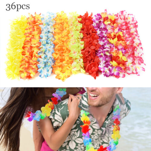 36 Adult Hawaiian Grass Skirt Flower Hula Lei Necklace Garland Fancy Dress