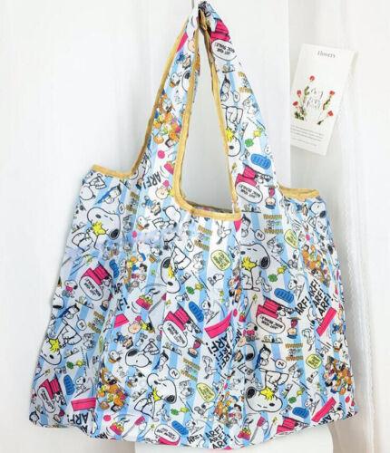 Cute Snoopy Folding Shopping Bag Eco-friendly Large Capacity Light Blue