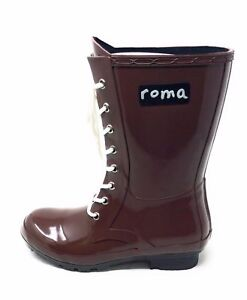 Roma-Womens-Epaga-Mid-Calf-Rain-Boot-Lace-Up-Raisin-Rubber-Size-6-M-US