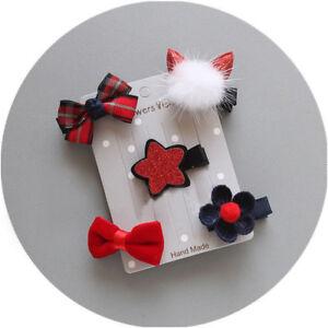 5X-epingle-a-cheveux-bebe-fille-Pince-Noeud-Fleur-mini-barrettes-pin-ensemble