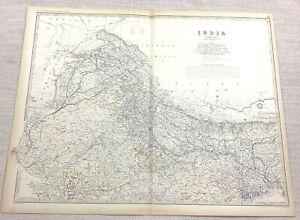 1861 Antik Map Of Indien Northern Indisch Staat Hand- Farbig Gravur Johnston